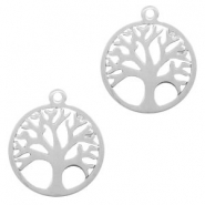 Stainless steel charms tree of life 15mm Silver