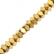 Hematite beads faceted disc Gold