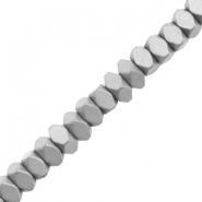 Hematite beads faceted disc mat Light Grey