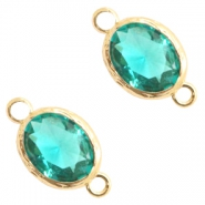Crystal glass connectors 8x10mm Emerald Blue Zircon Crystal-Gold