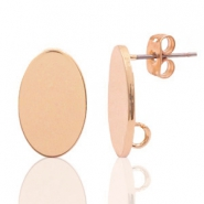 DQ European metal findings earpin oval 11x17mm Rose Gold (ncikel free)