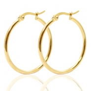 Stainless Steel earrings creole 30mm Gold