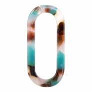 Resin pendants links oval 33x15mm Turquoise-Brown