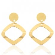 Stainless steel earrings rhombus Gold
