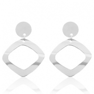 Stainless steel earrings rhombus Silver