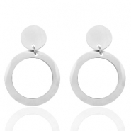 Stainless steel earrings round Silver