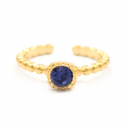 Must-have rings dots with one stone Gold-Dark Blue (nickel free)