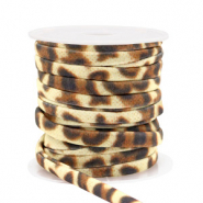 Stitched elastic ribbon leopard Gold Brown
