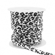Stitched elastic ribbon leopard White-Black