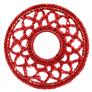 Crochet pendants round 54mm Port Red