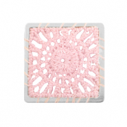 Crochet pendants square Silver-Light Pink