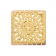 Crochet pendants square Gold-Mustard Yellow