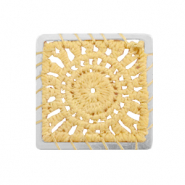 Crochet pendants square Silver-Mustard Yellow
