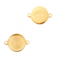 DQ European metal charms connector eye round 16mm Gold (nickel free)