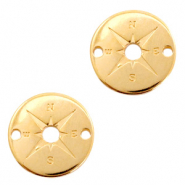 DQ European metal charms connector compass round 20mm Gold (nickel free)
