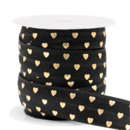 Elastic ribbon heart Black-Gold