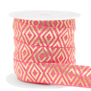 Elastic ribbon Art Deco Rouge Pink-Gold