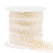 Elastic ribbon Art Deco White-Gold