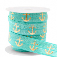 Elastic ribbon anchor Turquoise-Gold