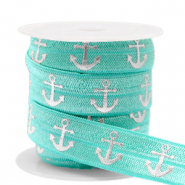 Elastic ribbon anchor Turquoise-Silver