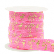 Elastic ribbon flamingo/palmtree Pink-Gold