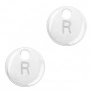 Metal charms initial R Antique Silver (nickel free)