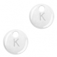 Metal charms initial K Antique Silver (nickel free)