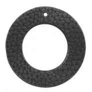 Faux leather pendants round Black