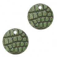Faux leather pendants round crocodile Green