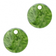 Resin pendants round 12mm Olive Green