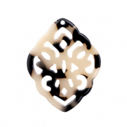 Resin pendants rhombus baroque Cream Black