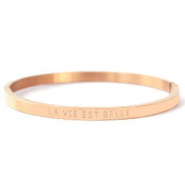 "Stainless steel bracelets ""LA VIE EST BELLE"" Rose Gold"