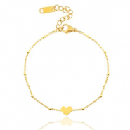 Stainless steel bracelets belcher chain heart ♥ Gold