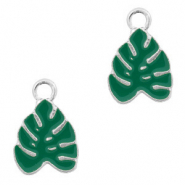 Metal charms tropical leaf Silver-Green