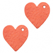 DQ European leather charms heart Living Coral Red