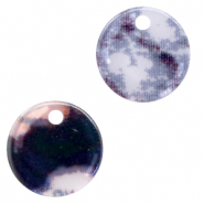 Resin pendants round 19mm snake shiny Grey-Dark Blue