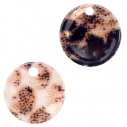 Resin pendants round 19mm snake shiny Rust Brown