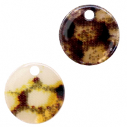 Resin pendants round 19mm snake shiny Yellow-brown