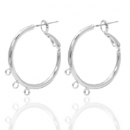 DQ European metal findings creole earrings 26mm with loops Antique Silver (nickel free)