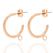 DQ European metal findings creole earrings 20mm with loop Rose Gold (nickel free)