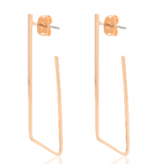 DQ European metal findings earrings geometric irregular Rose Gold (nickel free)