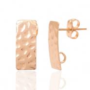 DQ European metal findings earpin rectangle with loop Rose Gold (nickel free)