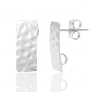 DQ European metal findings earpin rectangle with loop Antique Silver (nickel free)