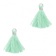 Tassels 1.5cm Silver-Turqouise Green