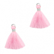 Tassels 1.5cm Silver-Light Pink