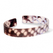 Ready-made Bracelets resin loose fit snake matt Brown-Grey