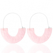 Trendy earrings resin Light Pink-Silver