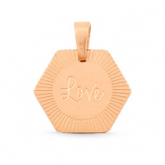 "Stainless steel charms Hexagon ""love"" Mix&Match Rose Gold"