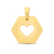 Stainless steel charms Hexagon heart Mix&Match Gold