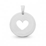 Stainless steel charms round 12mm heart Mix&Match Silver